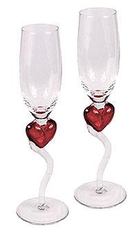 Flutes Champagne Verre Coeur Rouge