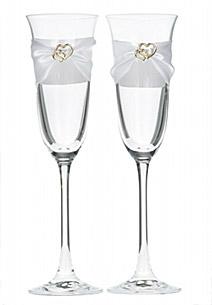 Flutes Champagne Double Coeurs Dorés Mariage