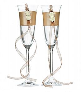 Flutes à Champagne Satin et Roses Mariage