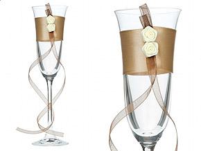 Flutes à Champagne Satin et Roses Toast Mariage