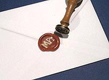 Lettres Initiales Cachet de Cire Bordeaux