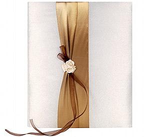 Livre d'Or Mariage Satin Ivoire et Chocolat