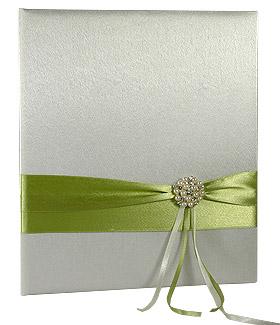 Livre d'Or Mariage Satin Drapé Vert Anis