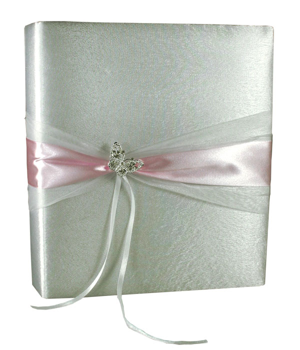 Livre d'Or Mariage Papillon Strass Blanc Rose