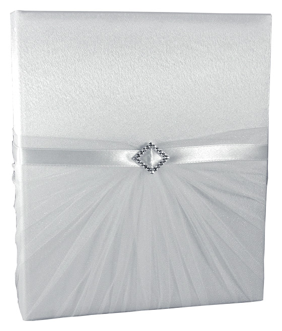 Livre d'Or Mariage Strass Drappé Tulle Blanc