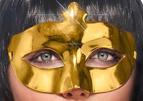 Masque Loup Brillant Doré