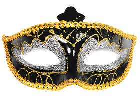 Masque Vénitien Noir Paillettes Dorées pas cher