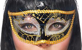 Masque Vénitien Noir Paillettes Dorées