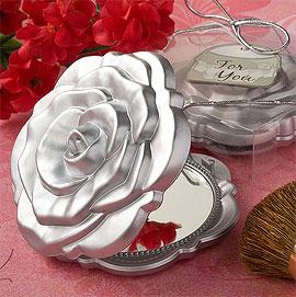 Petit Miroir de Poche Forme Rose Cadeau Invités Mariage