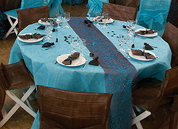 Nappe Ronde papier Mariage Turquoise