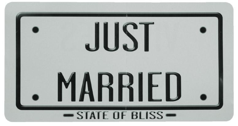 plaque d 39 immatriculation vive les mari s grise d coration voiture mariage. Black Bedroom Furniture Sets. Home Design Ideas