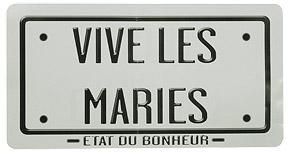 Plaque Immatriculation Voiture mariage