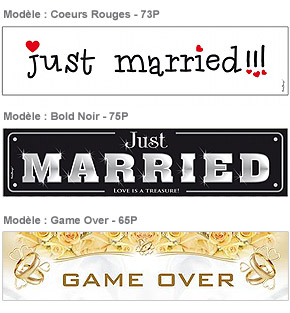 Plaque Voiture Mariage carton