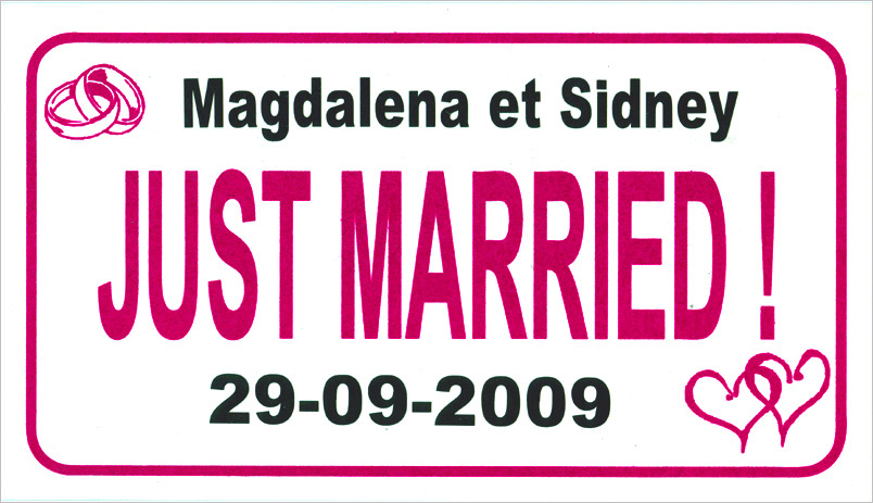 la plaque d 39 immatriculation just married personnalis e. Black Bedroom Furniture Sets. Home Design Ideas