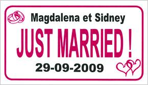 Plaque Voiture Mariage Personnalisée Prénoms