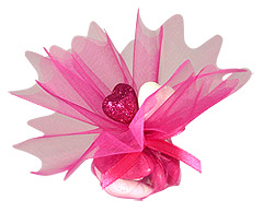 Pochon Organza Coeurs Paillettes Dragées Fuchsia