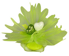 Pochon Organza Coeurs Paillettes Dragées Vert Anis