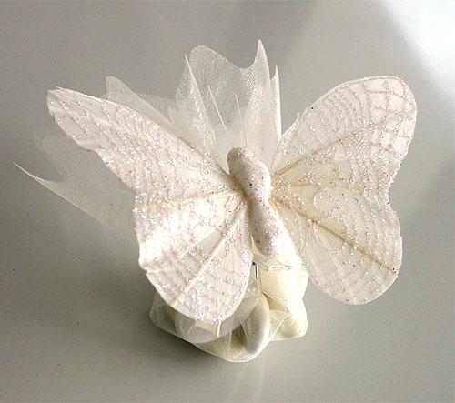 Pochon Organza Papillons Paillettes Dragées Blanc