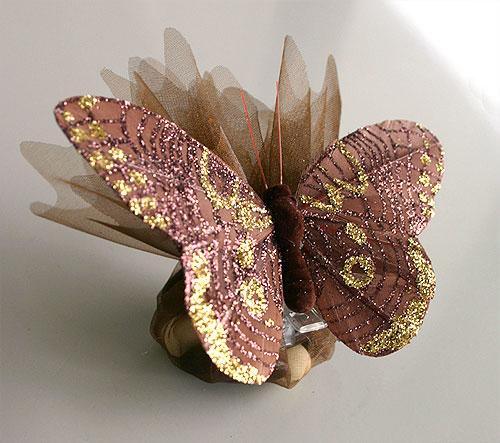 Pochon Organza Papillons Paillettes Dragées pas cher
