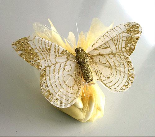 Pochon Organza Papillons Paillettes Dragées Ivoire