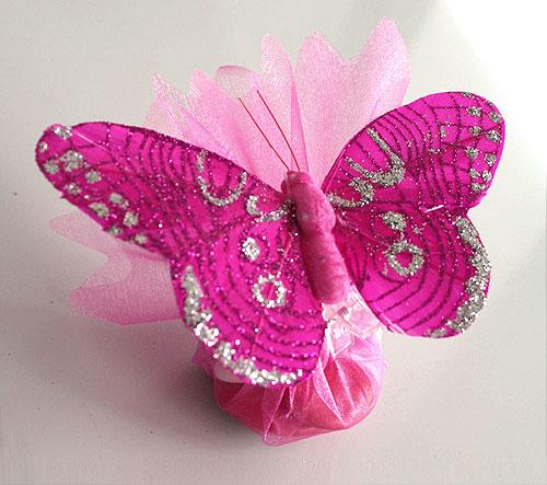 Pochon Organza Papillons Paillettes Dragées Fuchsia