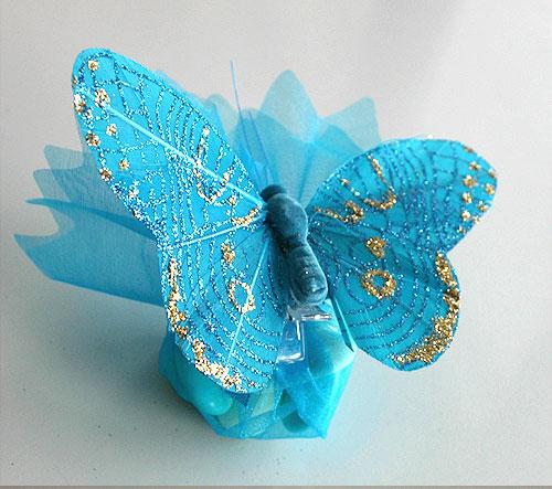 Pochon Organza Papillons Paillettes Dragées Turquoise