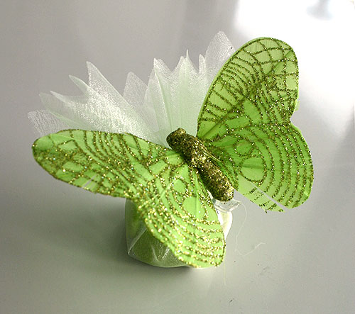 Pochon Organza Papillons Paillettes Dragées Vert Anis