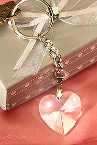 Porte Clef Coeur Cristal Cadeau Invité Mariage