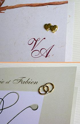 Déco Faire-part Mariage Coeurs Alliances Dorés