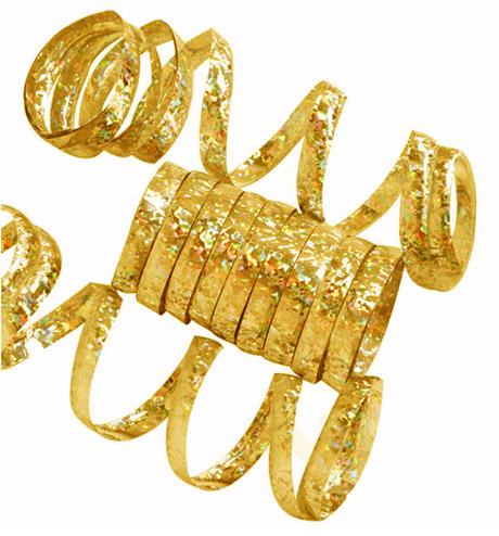 Rouleaux Serpentins Holographiques Brillants Doré