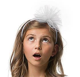 Serre tête pompon blanc en tulle