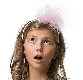 Serre tête pompon rose en tulle