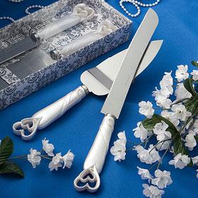 Pelle et Couteau Pièce Montée Mariage Coeurs Nacre