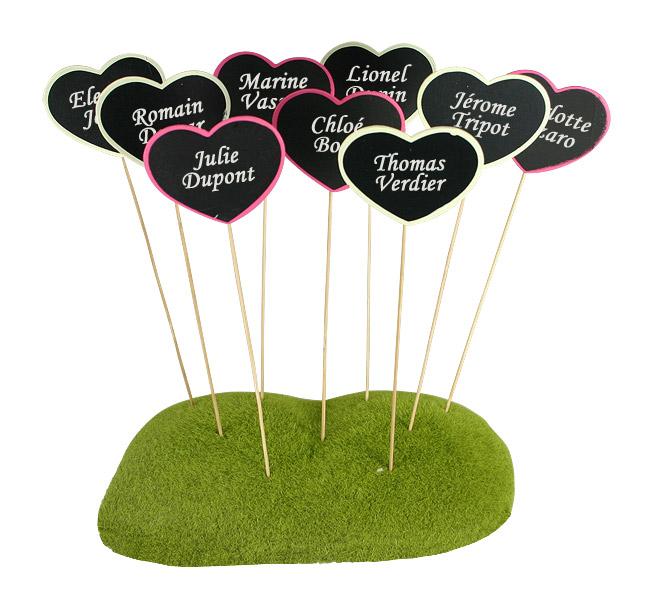 Piques ardoises coeur marque place porte nom mariage original - Support nom de table mariage ...