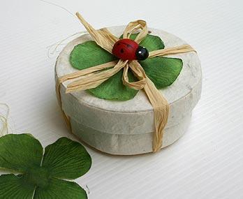 Boite Dragées Trèfle Raphia Coccinelle