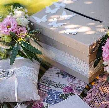 Accessoires mariage lin et dentelle