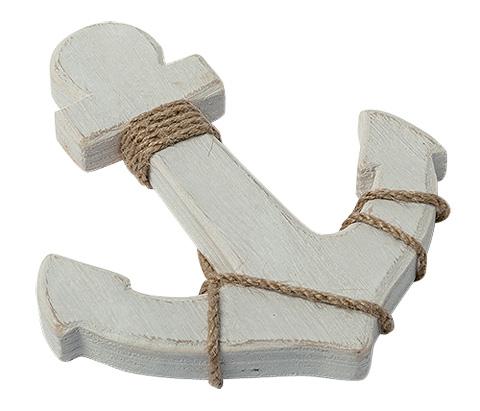 l 39 ancre marine en bois blanc c rus avec corde d coration th me mer. Black Bedroom Furniture Sets. Home Design Ideas