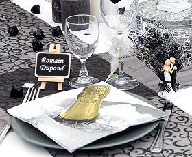 Chevalet en Bois Porte Nom avec ARDOISE Beige - Taupe Noir