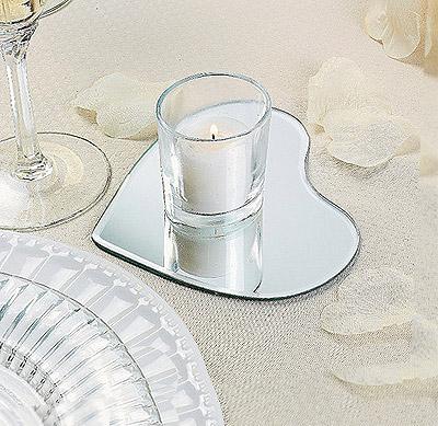 Assiette miroir forme coeur dessous de bougie