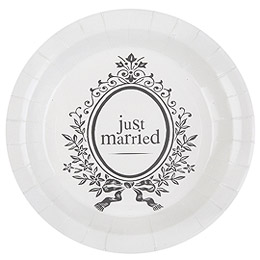 Assiettes Rondes Carton Just Married Mariage