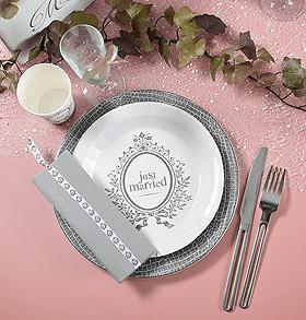 Décoration de table mariage gris et rose