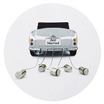 Autocollant Rond Voiture Just Married Mariage