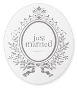 Autocollant Ovale Blason Just Married Mariage