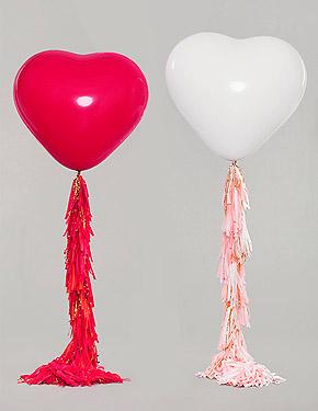 Ballons Coeurs Géants 45cm Mariage Blanc Rouge