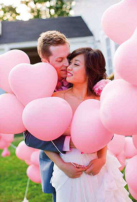 Ballons Coeurs 35cm Rose