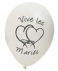 Ballons Vive les Mariés Coeur Blanc