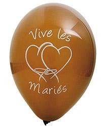 Ballons Vive les Mariés Coeur Chocolat