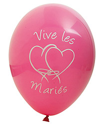 Ballons Vive les Mariés Coeur Fuchsia