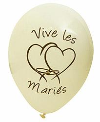 Ballons Vive les Mariés Coeur Ivoire