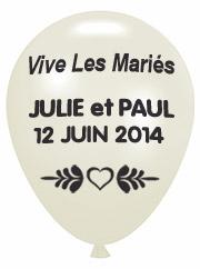 Ballons Nacrés Personnalisés Prenoms Mariage Ivoire